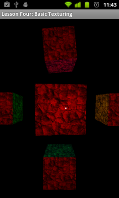 Per fragment lighting with texturing: centered between four vertices of a square.