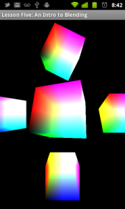 Basic blending (additive blending of RGB cubes).