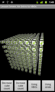 A screenshot of Lesson Seven, showing the grid of cubes.