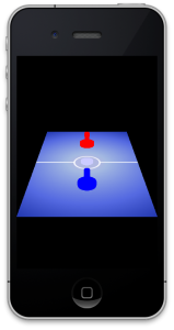 Air hockey, running on the iPhone simulator